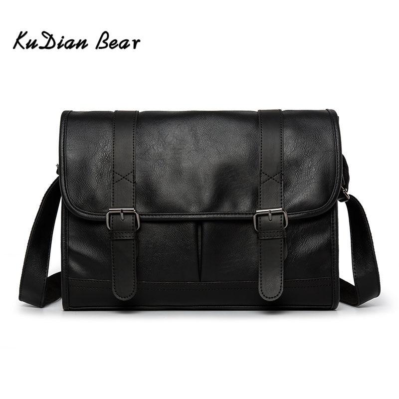 KUDIAN BEAR Men Messenger Bag Shoulder PU Leather Business Casual Retro Men's Crossbody Bags Black Luxury Bolsos BIG003 PM49