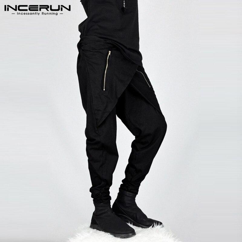 INCERUN 2020 New Fashion Irregular Men Harem Pants Joggers Hiphop Zipper Streetwear Trousers Men Baggy Casual Pants Hombre S-5XL