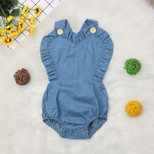Newborn Baby Clothes Infant Girl Denim Ruffle Sleeveless Baby Rompers Jumpsuit Outfits Summer New Born Baby Clothes(China)