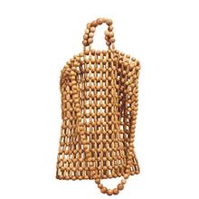 Hand-knitted Handbag Natural Bamboo Wooden Bead Travel Bag Girl's Tote Vintage Beach Leisure Simple Sturdy Wearable Travel Bag