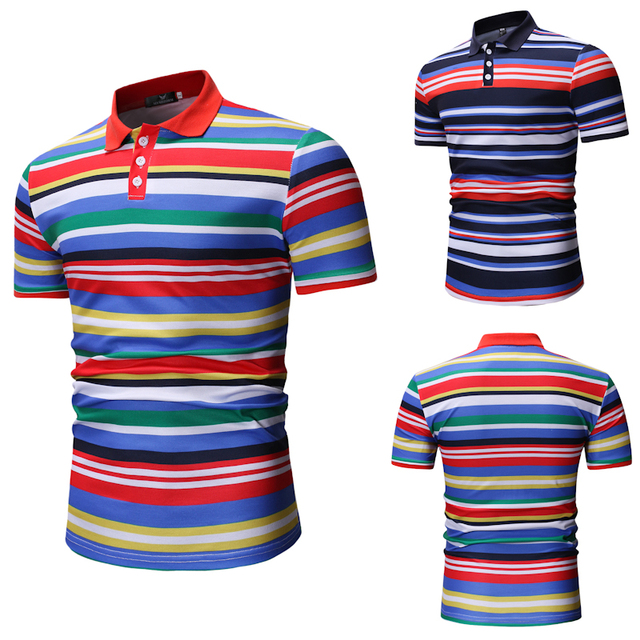 8c9a64c389 2019 Summer New Foreign Trade Men's Striped Slim Business Casual Fashion  POLO Shirt Gentleman Personality Hit Color Urban M-3XL