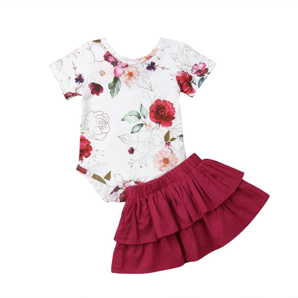 Newborn Infant Baby Girl 2PCS Set Outfits Short Sleeve Print Bodysuit+Mini Skirts Outfit Girls Summer Sunsuit