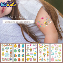 Wecute Lovely Temporary Easter Stickers Eggs Happy Decoration Birthday Party Baby Shower Girls Gifts DIY 7.5*12cm