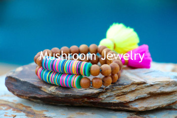 Boho Chic Wood Beads Bracelet Mala African Vinyl Beads Bracelet Tassel Stretch Bracelet