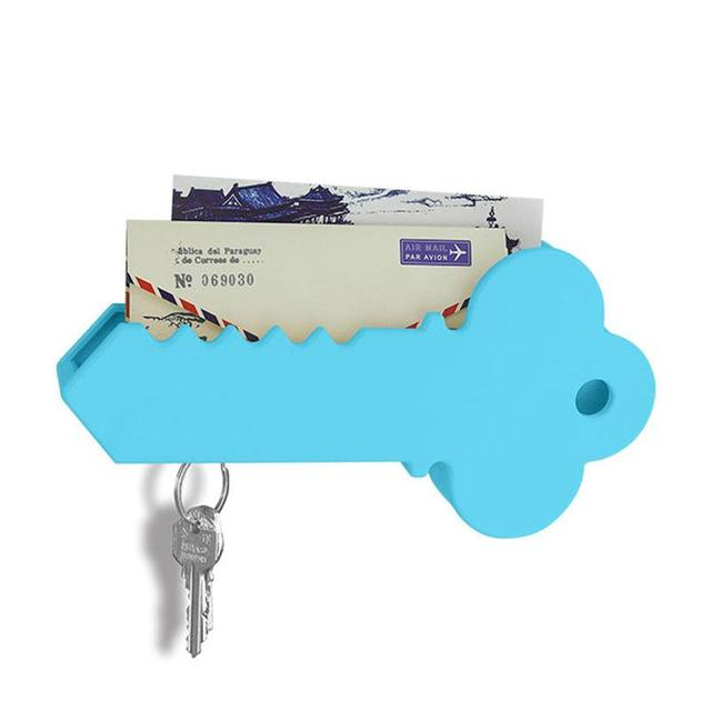 Wall Mounted Giant Key Shaped Magnetic Key Holder and Mail Organizer Box (Blue)