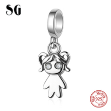 SG Design Silver 925 Original Cz girl Charm Bead Fit Authentic pandora Bracelets sterling silver Jewelry for women Gifts