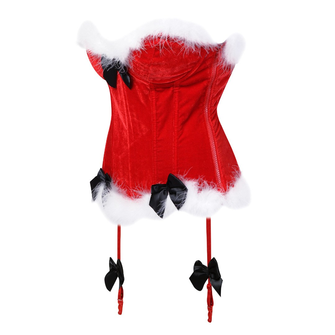 New Arrival Chirstmas   Corset   Tops Steel Boned Sexy Black   Bustier     Corset   Top Chest Binder Feathers Winter Party   Corset   Costume