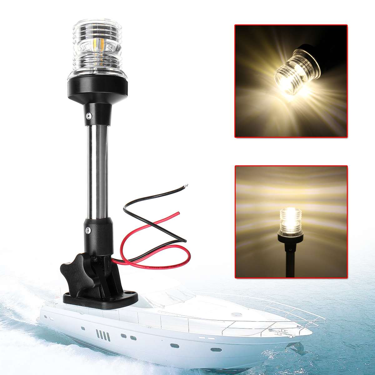 12V-24V Pactrade Marine Boat Fold Down Fold Down LED Navigation Light For Yacht Boat Stern Anchor Light Sailing Signal Light