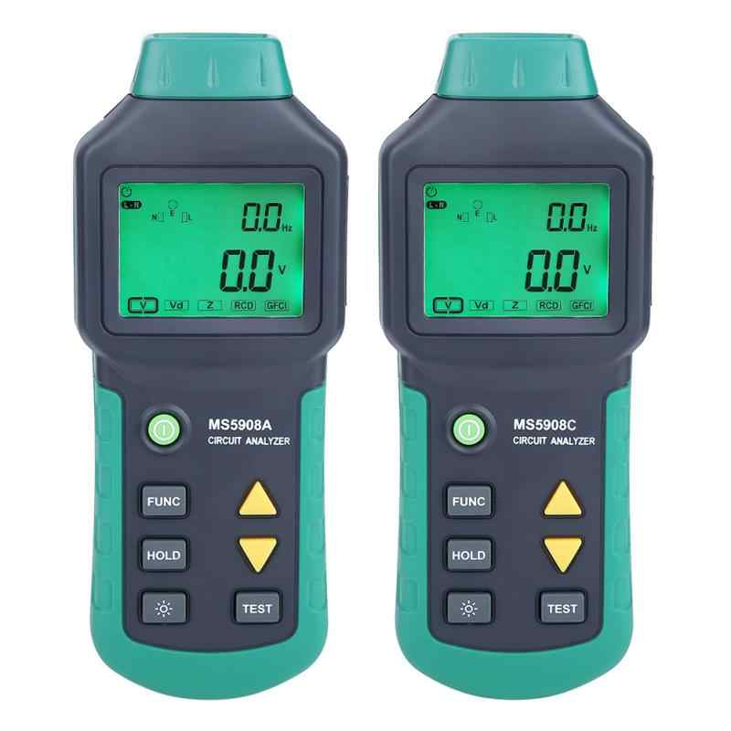 AC100-240V MASTECH MS5908A/MS5908C LCD Circuit Analyzer With Voltage GFCI RCD Tester Tools