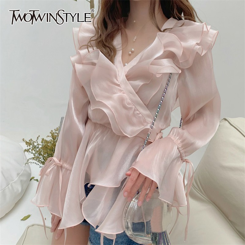 Intellective Twotwinstyle Sweet Asymmetrical Ruffles Women Blouse V Neck Bandage Flare Sleeve Tunic Shirt Female Spring Fashion 2019 Tide High Quality And Inexpensive Women's Clothing