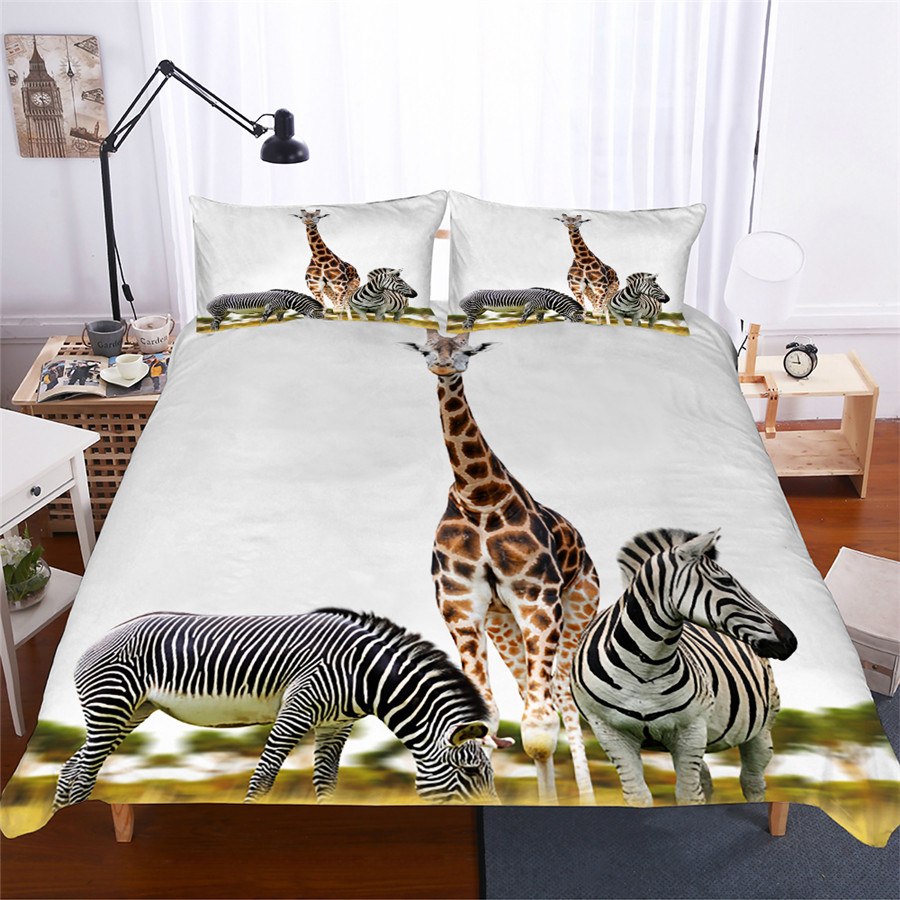 Bedding Set 3D Printed Duvet Cover Bed Set Giraffe Animal Home Textiles for Adults Lifelike Bedclothes with Pillowcase #CJL08-in Bedding Sets from Home & Garden