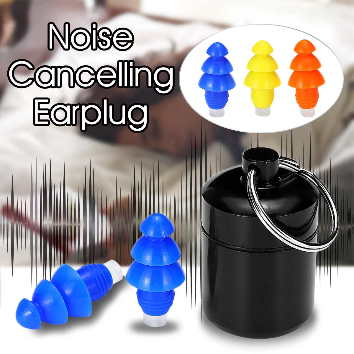 1 Pair 27db Soft Silicone Noise Cancelling Earplugs Swimming Diving Anti-Noise Ear Plug For Sleeping Hearing Protection With Box