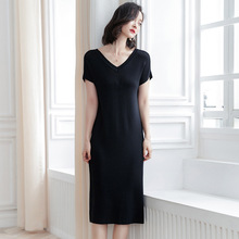 Korean short-sleeved dresses women summer office lady V-neck slim simple all-match knitted dress early spring and SJ1398