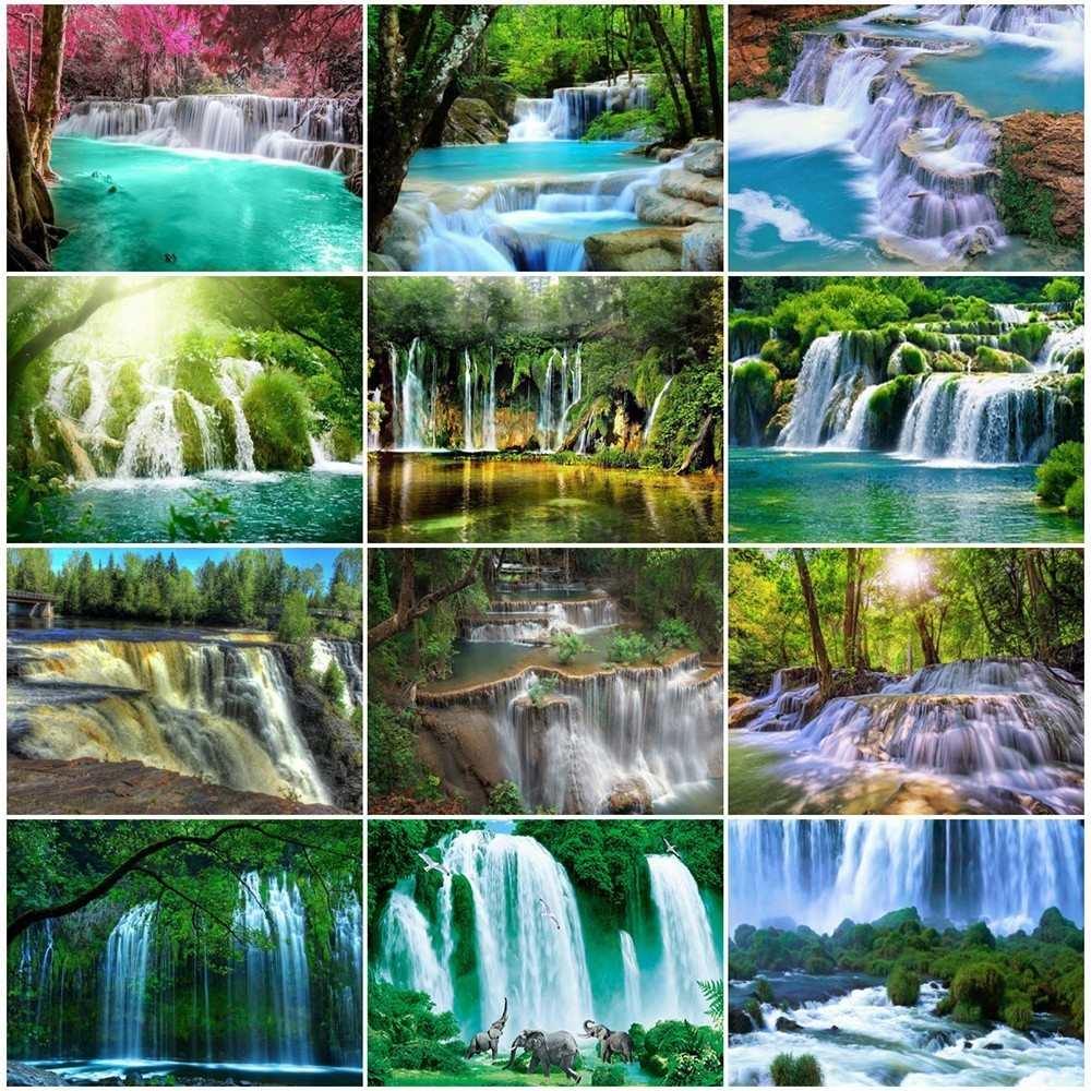 Evershine Diamond Painting Waterfall Landscape Full-Display-Picture Home-Decor of Square