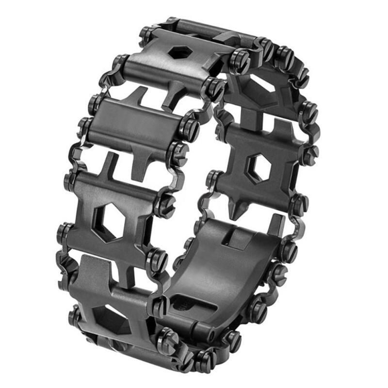 29 en 1 multi-fonction randonnée Camping survie en plein air EDC outils hommes et femmes Bracelets Bracelet en acier inoxydable