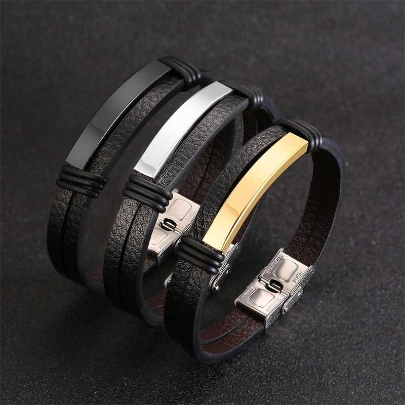 Casual Mens Leather Bracelet Stainless Steel ID Tag Double Layers pulseira masculina 20.5cm