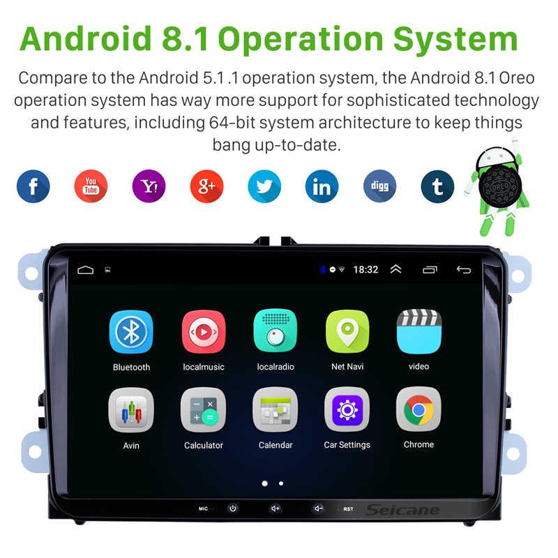 """Seicane Android 8,1 2Din 9 """"автомобильный стерео Мультимедиа для VW универсальный SEAT LEON Golf Passat b5 b6 CC Sharan Polo Skoda Magotan"""