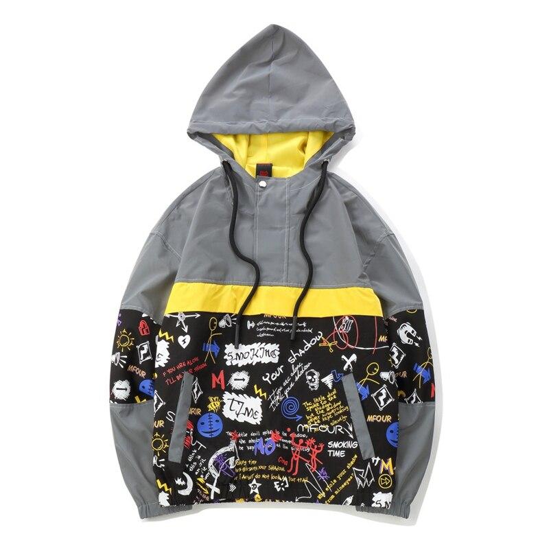 Vestes hommes Hip Hop personnalité Graffiti imprimer Patchwork Streetwear veste réfléchissante manteaux veste hommes vêtements 2019 Q0270