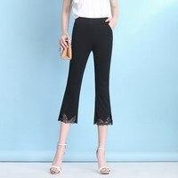 2019 Spring Summer Women Casual Lace Patchwork Capris Pants Elastic Waist Calf Length Flare Pants Plus Size 3XL