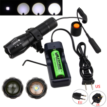 Military Weaver Mount Adjustable XML T6 Tactical Hunting Torch Remote Switch 5000LM Picatinny Zoomable Rechargeable Flashlight a100 zoomable 1000lm hunting flashlight police tactical xml t6 white led 5modes flashlight hunting torch