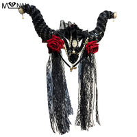 Lolita Horns Headband With Veil Gothic Rose Pearl Headdress Party Tiara Horn Halloween Horror Headband Accessories