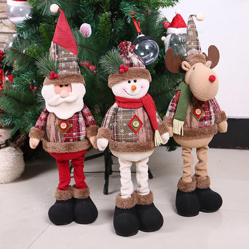Novo 2019 Feliz Natal Enfeites de Boneca de Brinquedo de Presente de natal de Papai Noel Do Boneco De Neve Da Árvore de Natal Pendurar Enfeites Para Casa Enfeites De Natal