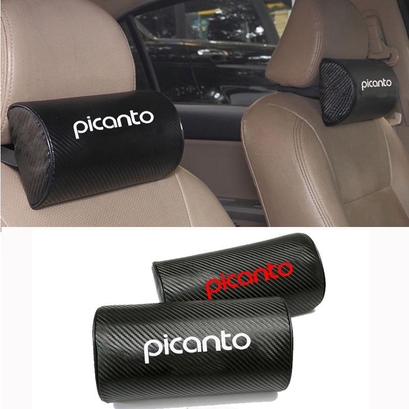 Carbon Fiber Texture PU leather Auto Car Seat Head Neck Rest Cushion Headrest Pad Car Neck Pillow For Kia Picanto