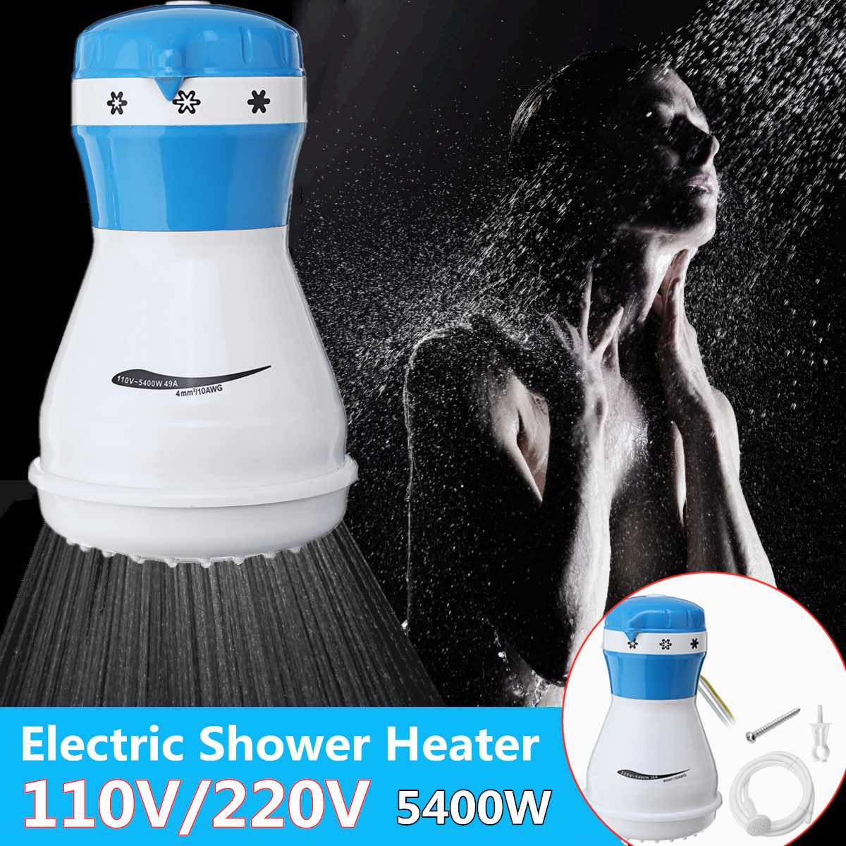 110V/220V Non Impounding Heaters Electric Water Heating For Bath 5400W Electric Heaters With Shower Head Instant Water