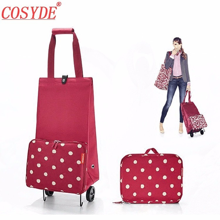 New Collapsible Luggage Trolley Folding Cabin Suitcase Bag Shopping Cart Wheels
