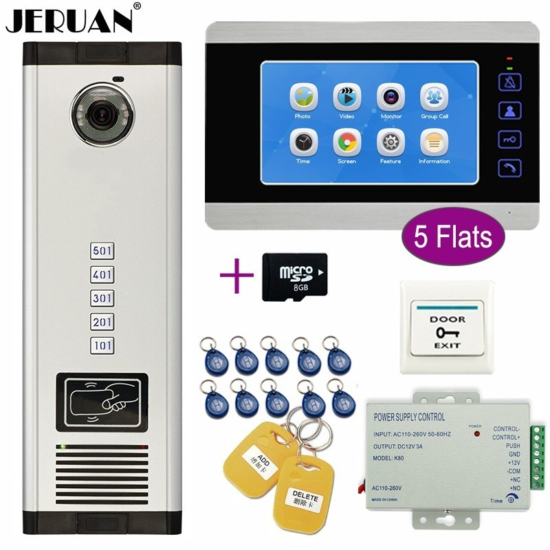 JERUAN Apartment 7 inch Color Video Door Phone Intercom Record Monitor Access Camera Home Gate Entry Security Kit for 5 FamiliesJERUAN Apartment 7 inch Color Video Door Phone Intercom Record Monitor Access Camera Home Gate Entry Security Kit for 5 Families
