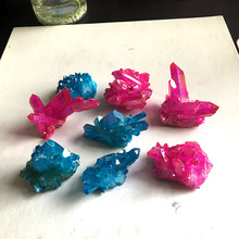 Natural electroplating  rainbow rose blue crystal cluster column degaussing stone ornaments