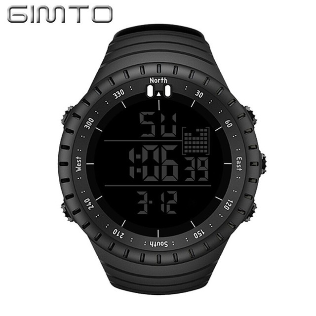 GIMTO Large Digital Watch Men Sports Watches For Running Stopwatch Waterproof Militar LED Electronic Wrist Watches Men 2018 Gift