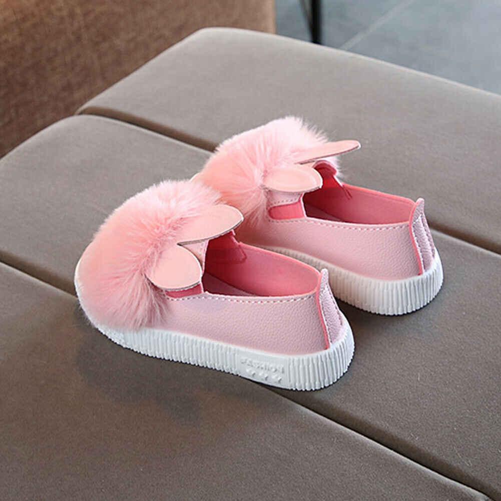 2019 תינוק ראשון הליכונים נסיכת תינוק ילד תינוקות בנות ארנב נעליים יומיומיות מוצק אנטי להחליק רך בלעדי פרווה רך תינוק נעליים