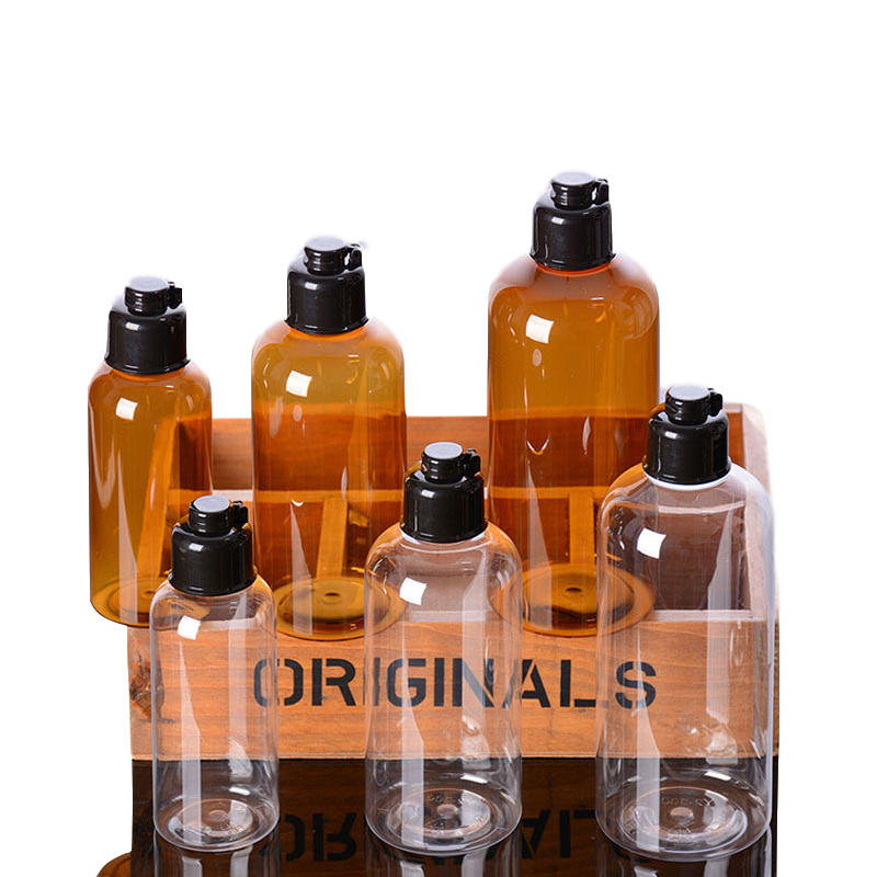 30pcs lot High quality 100ml 200ml 300ml Clear Amber Cosmetic Bottles with Black Flip Top luxury