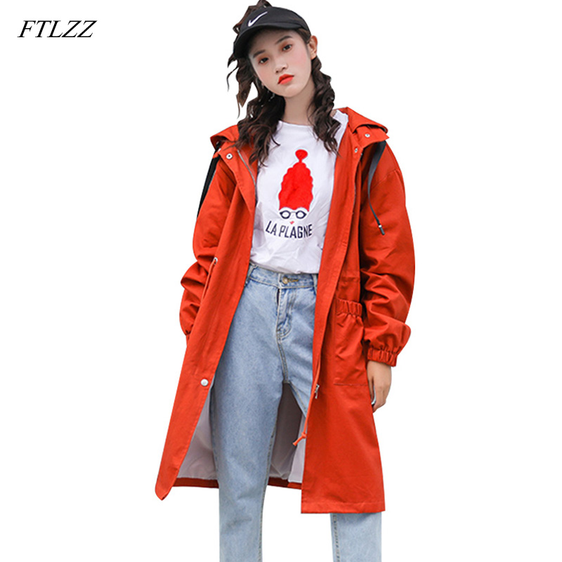 FTLZZ Trench Long Coat Women Casual Hooded Windbreaker Coat Spring Autumn Female Zipper Trench Coat Loose Tie Up Outerwear