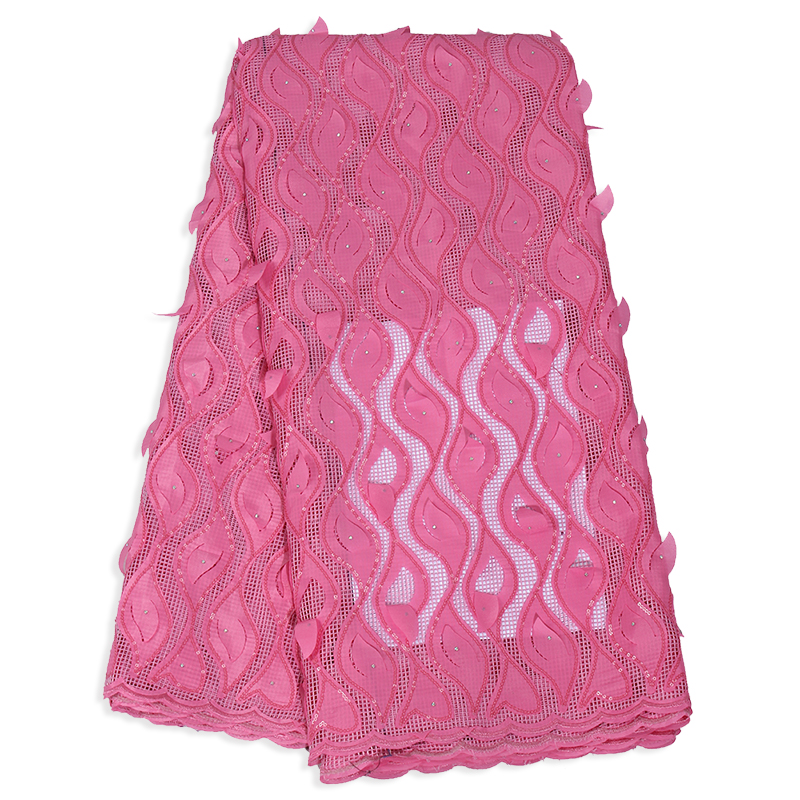 2019 High Quality Latest African Tulle Lace Fabric French Applique Pink Color Laces Fabrics Materials For