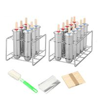 Stainless Steel Popsicle Mold Set Of 6/10 DIY Fruit Innovative Ice Tube Mold Household Ice Cream Makers With Wooden Sticks Brush