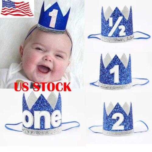 Baby Girl Boy Kids Half 1/2 First Second Birthday Crown Party Headband Child Hot Birthday Hats