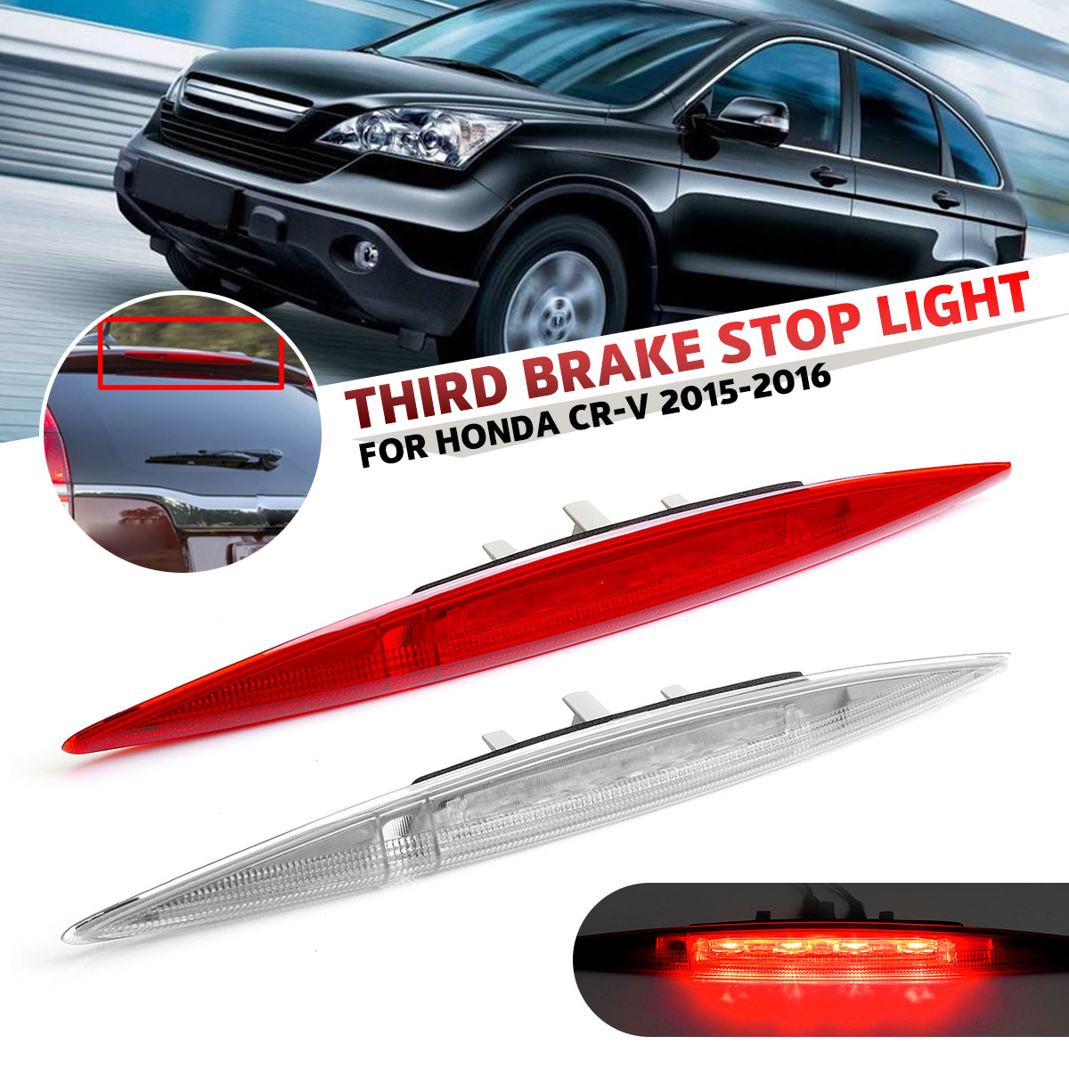 White / Red High Positioned Mounted Additional Car Rear Third Brake Light Stop Lamp For Honda CRV CR V 2012 2013 2014 2015 2016