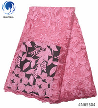 Beautifical bridal lace fabric wedding latest with beads pink flowers styles cheap price for women 4N655