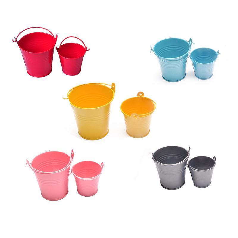 1pc Small Iron Barrel Tinplate Mini Tub Decorative Kegs Anti-deform Bright Color Durable