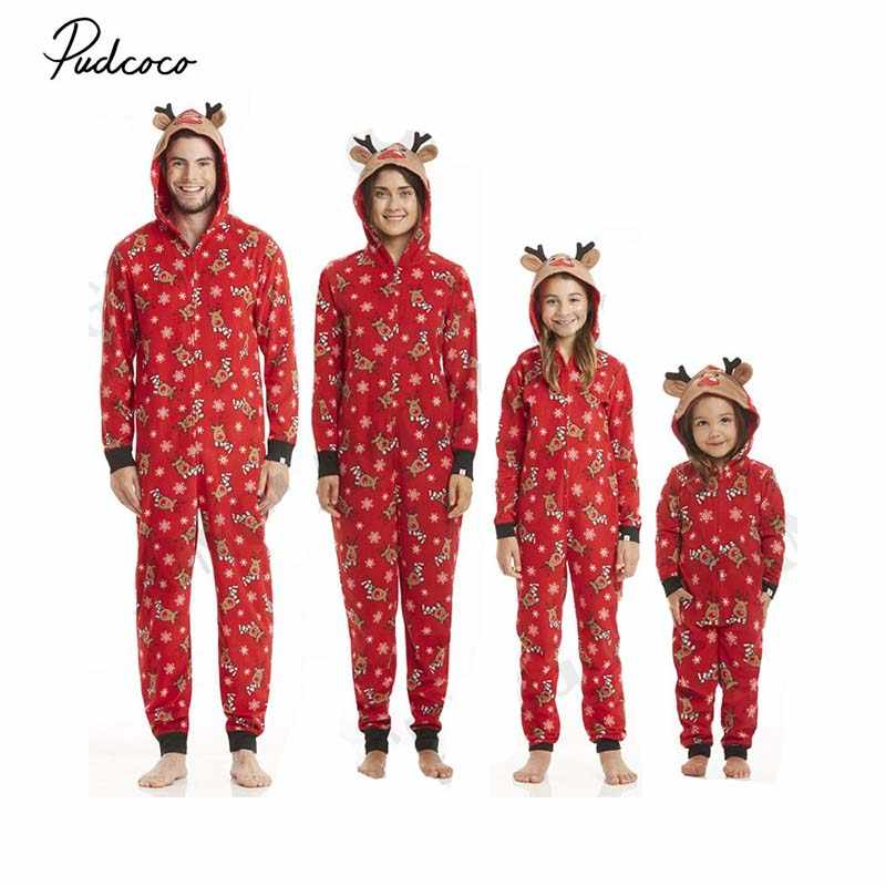 6c73a895e05f 2018 Christmas Family Matching Zip Pajamas Jumpsuit New Winter Adult Men  Women Kids Baby 3D Elk