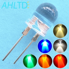 50pcs 10mm White Red Green Blue Yellow Diode Led Round 0.5W Power Light 3.2~3.6V LED Lamp Bead Light-emitting Diode 30KMCD Bulb creative led light bulb keychain green white