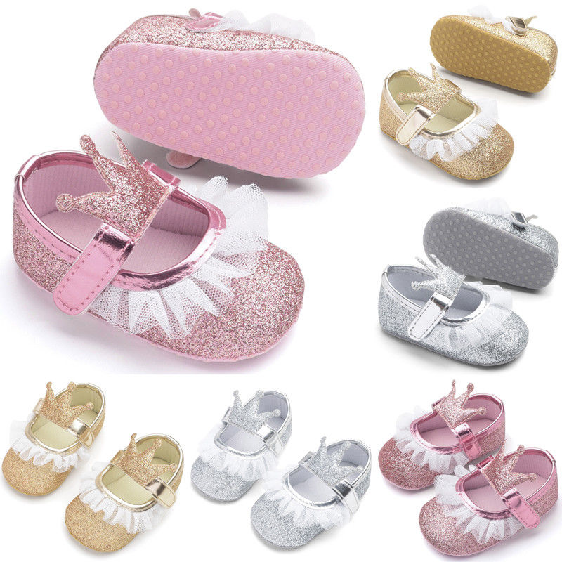 Toddler Baby Girls Casual Shoes Princess Sequin Crown Soft Sole Newborn Girls Shoes Infant Little Kids Anti-slip Pram Sneakers