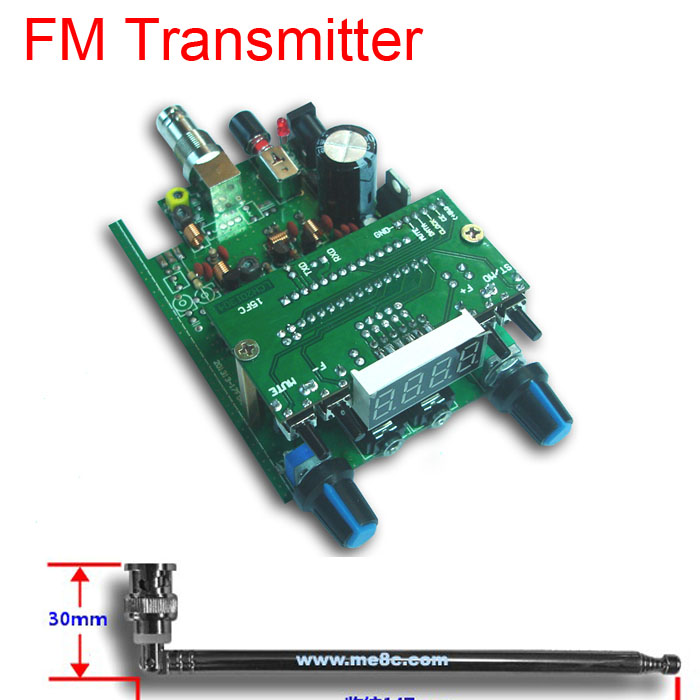 dc 12V 88 108MHZ 0.5W BH1415F FM Radio PLL Stereo FM Transmitter digital display LED Module + 75cm Q9 Antenna audio signals