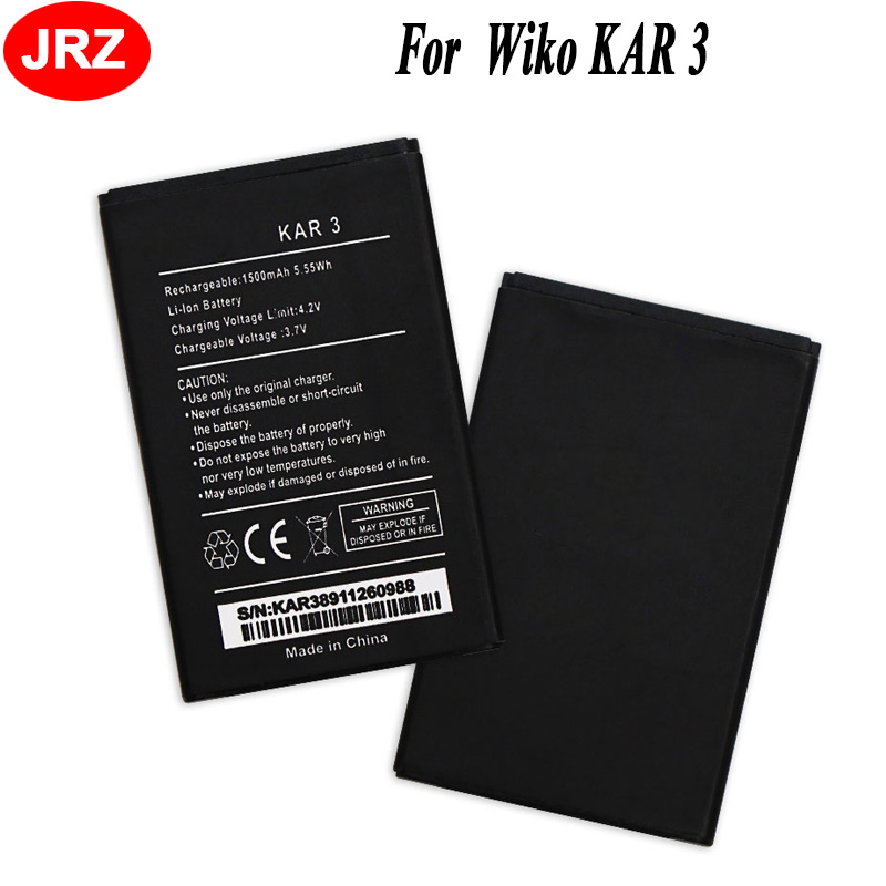 JRZ For Wiko KAR 3 Phone Battery 1500mAh Hight Capacity 3.7V Top Quality Replacement Batteries