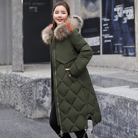 Winter Jacket Women Long Colorful Big Fur Hooded Overcoat Thick Down Parkas Female Jacket Coat Slim Causal Winter Woman Coat