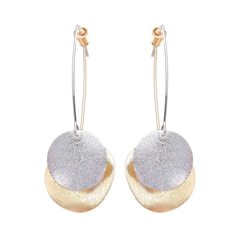 Fashion Size Metal Sequins Long Earrings Ladies Two-Color Round Pendant Earrings Retro Accessories Christmas Gifts
