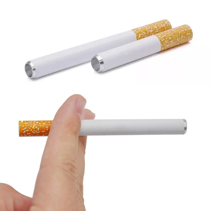 Sale 1pc New 2020 Cigarette Shape metal pipe smoking pipe accessories Tobacco pipe filter Portable Pipe 1