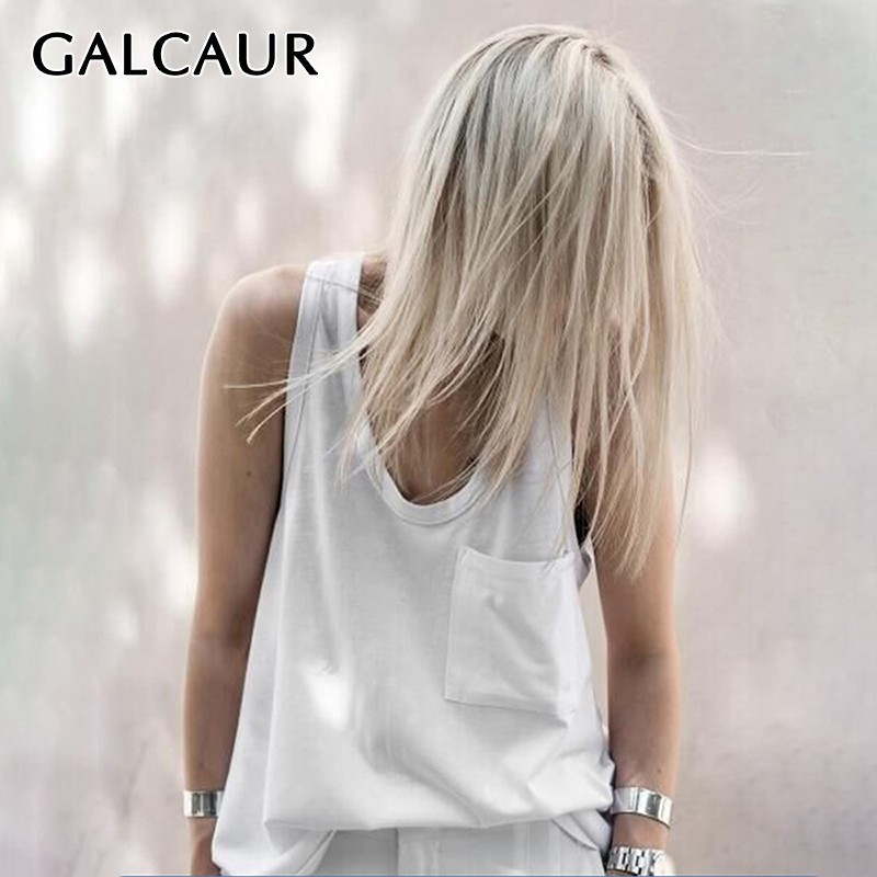 GALCAUR Solid Casual Vest For Women Sleeveless V Neck Off Shoulder Big Size Tops Female Summer 2020 Fashion Clothes New